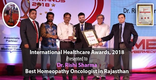 "Dr. Rishi Sharma Awarded as the ""Best Homeopathy Oncologist in Rajasthan"""